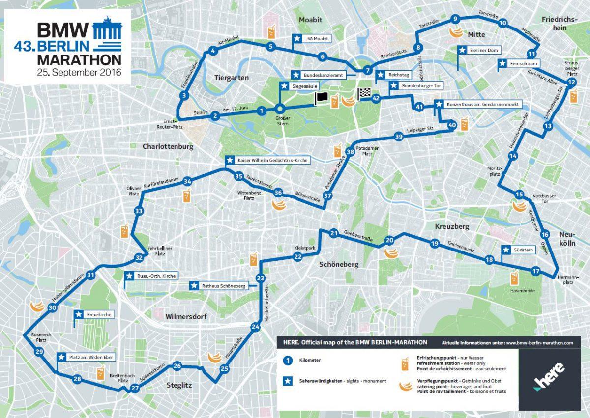 Hvilken lekkerbisken av en ultra-rask løype – i løpet av 42,2km får man muligheten til å oppleve det beste av både gamle Øst og Vest-Berlin og man er innom en rekke av de kjente distriktene som Mitte, Neukölln, Kreuzberg og Charlottenburg.