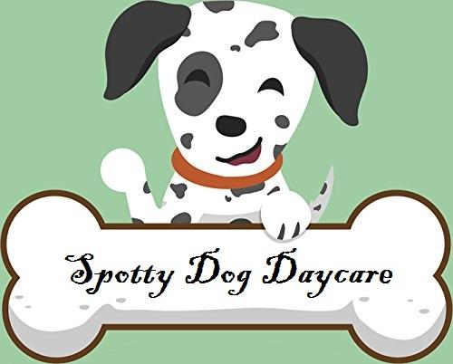 Spotty dog and bone logo