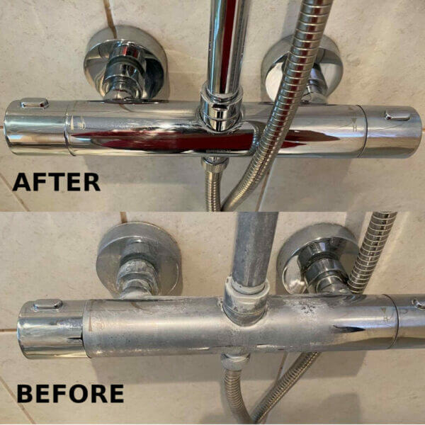 Shower cleaned with squeeky natural limescale remover before and after
