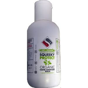 Squeeky Protect organic natural Hand Sanitiser Balm, cream,lotion bottle. Alchohol free