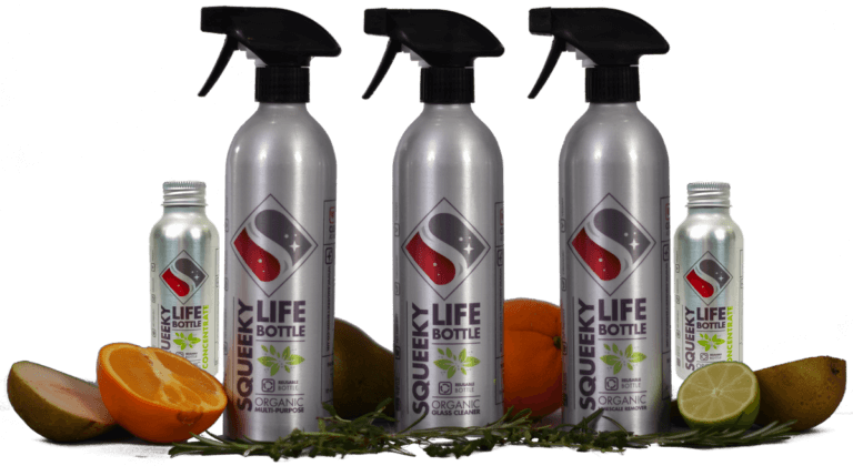 Three Squeeky Life bottles with fruit and concentrate refill bottles. Natural, organic,plastic free cleaning products in refillable aluminium squeeky life bottles