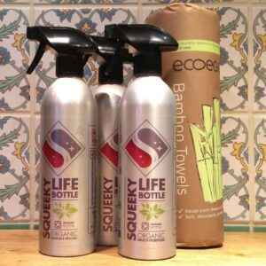 Squeeky Natural cleaning starter kit. Three life bottles plus 20 bamboo cloths