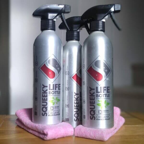 Squeeky natural cleaning starter kit. Plastic free multi purpose surface cleaner, bathroom cleaner, surface polish and coconut cloths.