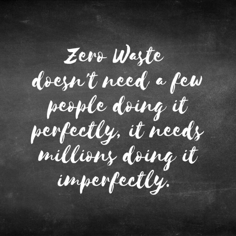 zero waste quote on chalkboard