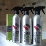 Squeeky Cleaners natural bathroom kit. bathroom cleaner, glass cleaner, Limescale remover, compostable sponge clothes