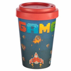 Dark blue bamboo travel cup with video game design and red lid