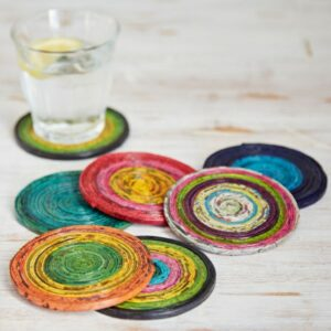 recycled newpaper coasters six