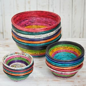 recycled newspaper round bowls