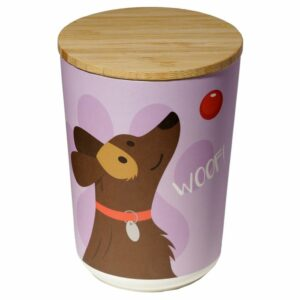 Round bamboo storage jar with dog design