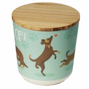 Round bamboo storage jar with a dog design