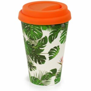 White bamboo travel cup with cheese plant design and orange lid