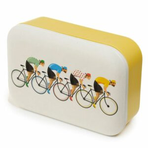 Yellow bamboo lunch box with white lid and bicycle design