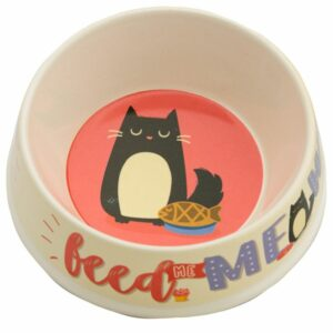 White bamboo pet bowl with a cat design