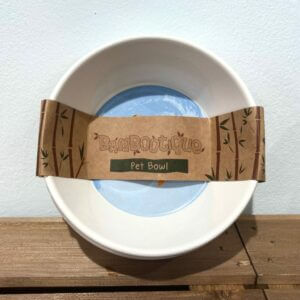 White bamboo pet bowl with blue paw print design