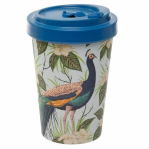 Light blue bamboo travel cup with peacock design and dark blue lid