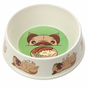 White bamboo pet bowl with pug design