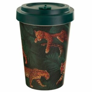 Dark green bamboo cup with leopard and tiger design