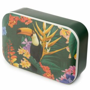 Dark green bamboo lunch box with a toucan design