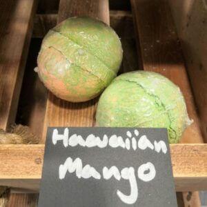 Green and orange mango scented bath bombs