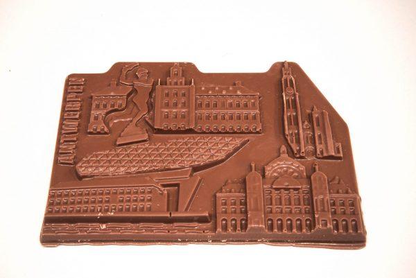 Chocolade bar in de vorm van de mooiste stukjes Antwerpen