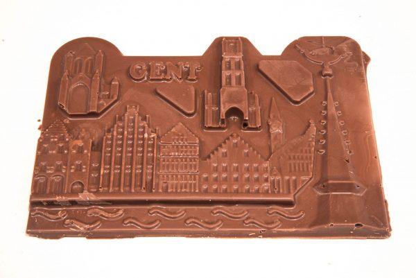 Creatieve chocolade tablet in de vorm van de stad Gent