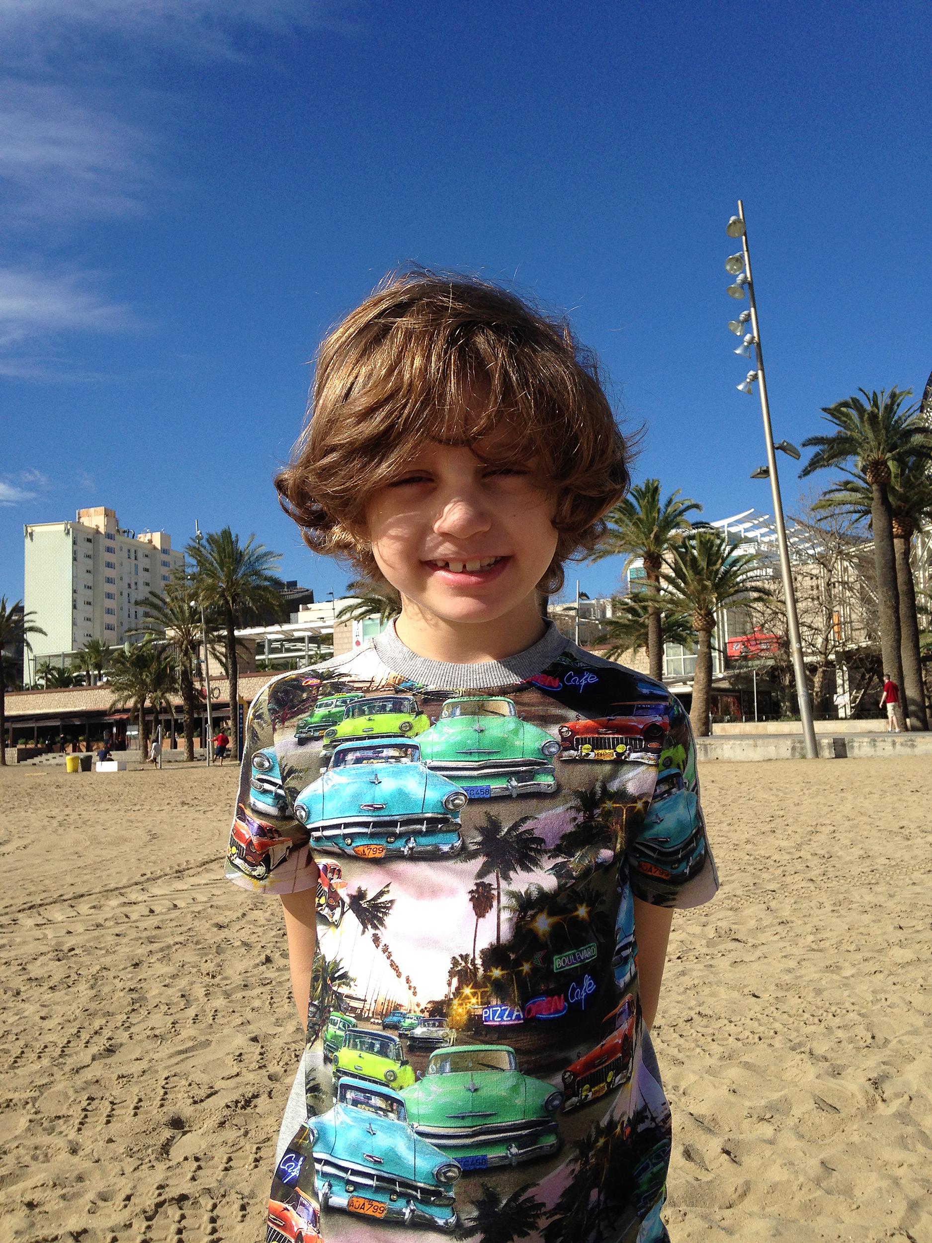 På stranden i Barcelona.