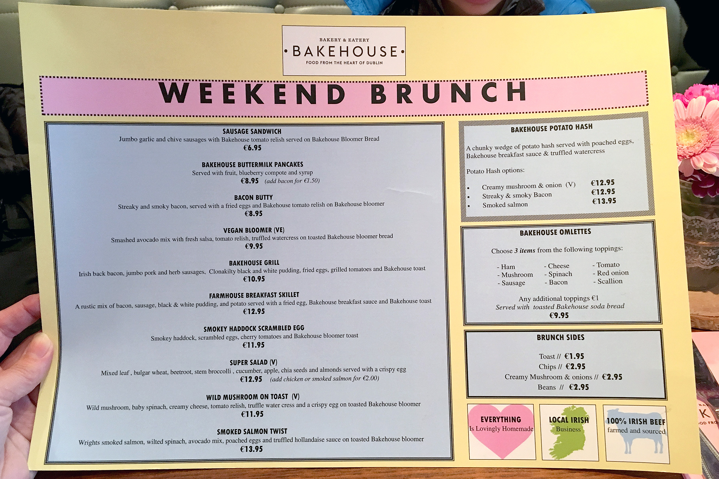 Meny The Bakehouse Brunch Dublin Irland