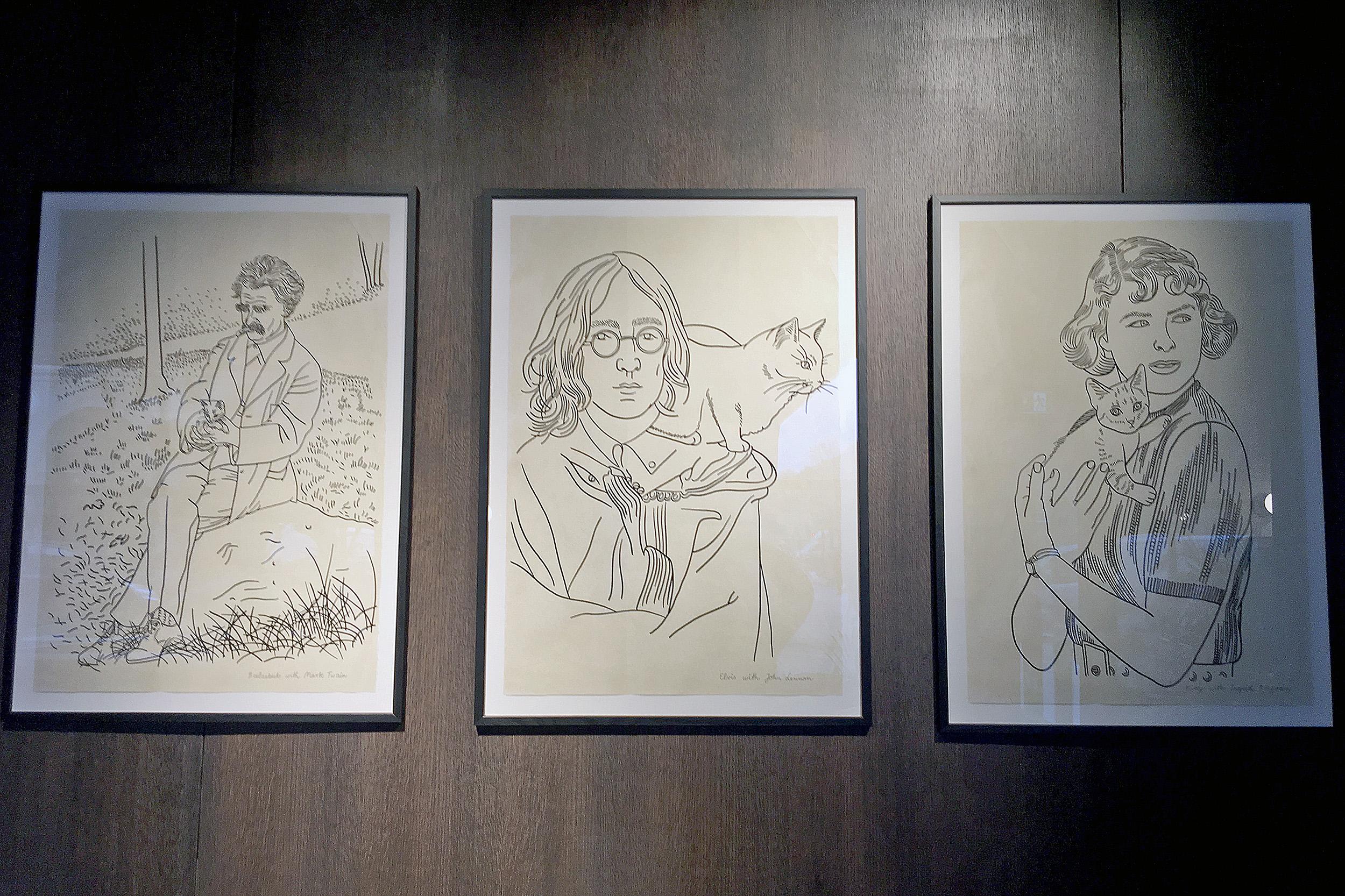 Java Whiskers Mark Twain, John Lennon och ingrid Bergman med sina katter.