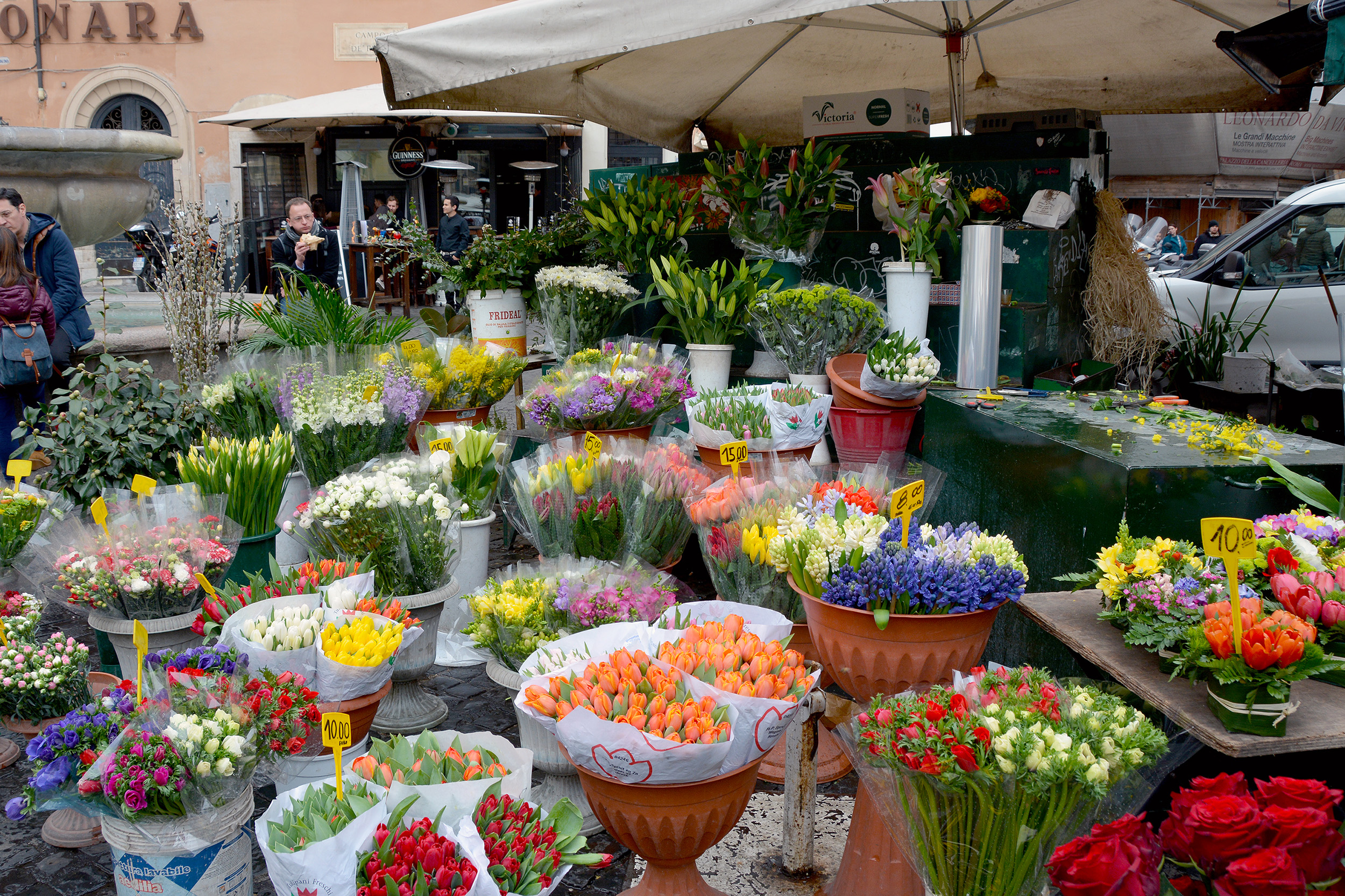 campo di fiori blommor weekend i Rom