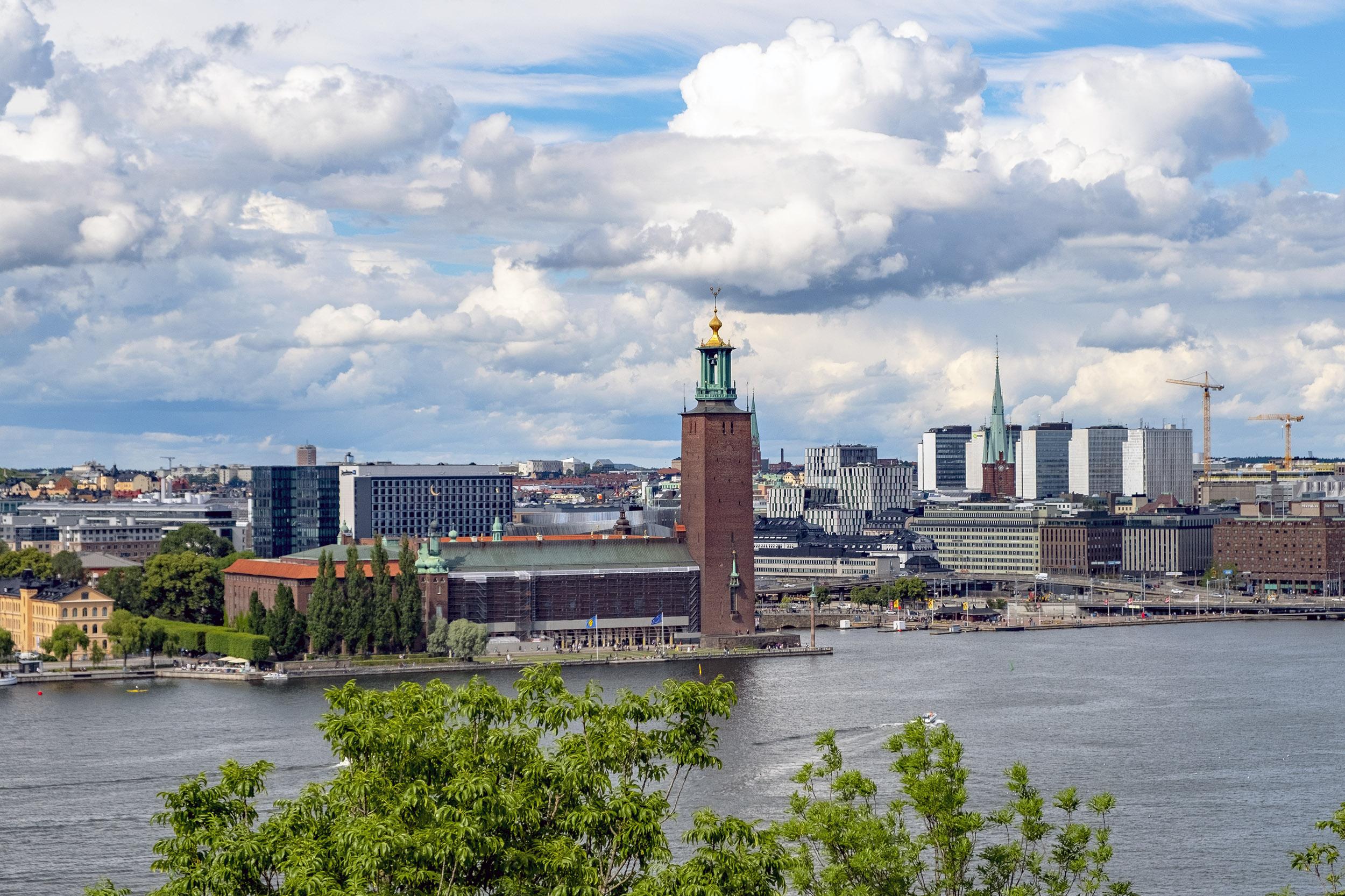 Utsikt över Stadshuset från Skinnarviksberget på Söder i Stockholm