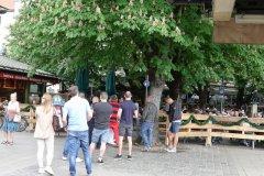Viktualienmarkt,  Eröffnung der Biergartensaison in München 2020