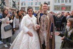 Prinzenpaar Moritz II. und Désireé I.,, Inthronisation der Narrhalla Prinzenpaare am Marienplatz in München 2020