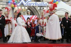 Désireé I, Moritz II, Günther Grauer (von li. nac h re.), Inthronisation der Narrhalla Prinzenpaare am Marienplatz in München 2020