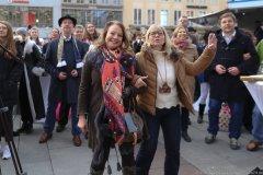 Ulrike Grimm und Gabriele Neff (re.), Inthronisation der Narrhalla Prinzenpaare am Marienplatz in München 2020