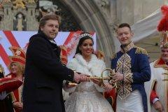 Jens Röver, Désireé I., Mortz II. (von li. nach re.), Inthronisation der Narrhalla Prinzenpaare am Marienplatz in München 2020