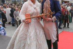 Prinzenpaar Moritz II und Désireé I., Inthronisation der Narrhalla Prinzenpaare am Marienplatz in München 2020