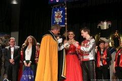 Harald Zipfel, Nina I., Lukas I. (von li. nach re.), Inthronisation der Würmesia Prinzenpaare in der Mehrzweckhalle in Neuried  2020