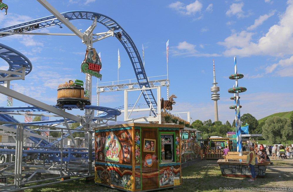 """Achterbahn Heidi """"The Coaster"""", Sommer in der Stadt auf dem Tollwoodgelände im Olympiapark in München 2020"""