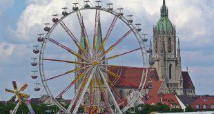 Frühlingsfest München Riesenrad und Paulskirche