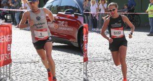 Die Sieger des München Marathon Andreas Straßner und Alexandra Morozova