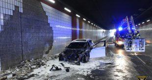Auto in Tunnel Landshuter Allee in München ausgebrannt