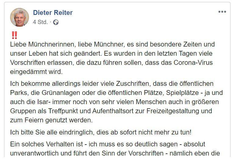 Coronakrise - OB Dieter Reiter appelliert auf Facebook