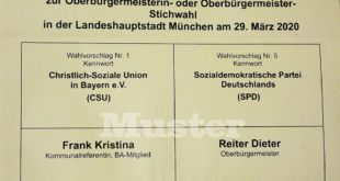 Stimmzettel Stichwahl Oberbürgermeister München 2020