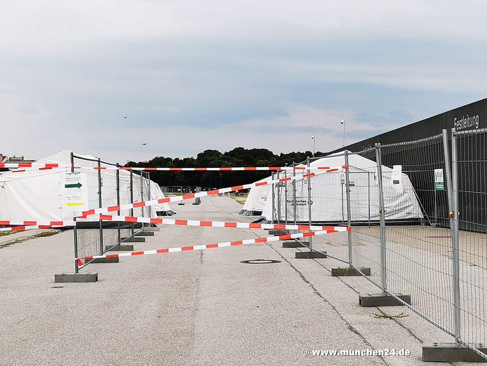 Corona Drivein Teststation auf der Theresienwiese nimmt Betrieb wieder auf
