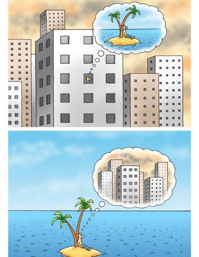 City and desert Island