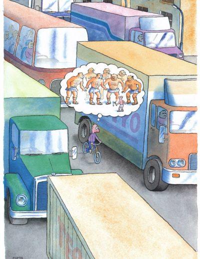 Cyclist and juggernaut trucks