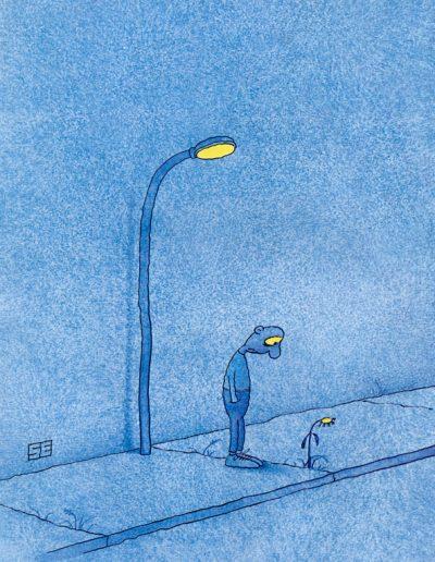 Drooping lamp post