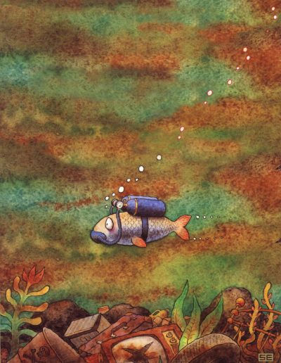 Fish and aqualung