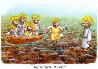 Jesus on junk in water