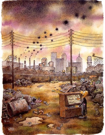 Piano player and pollution